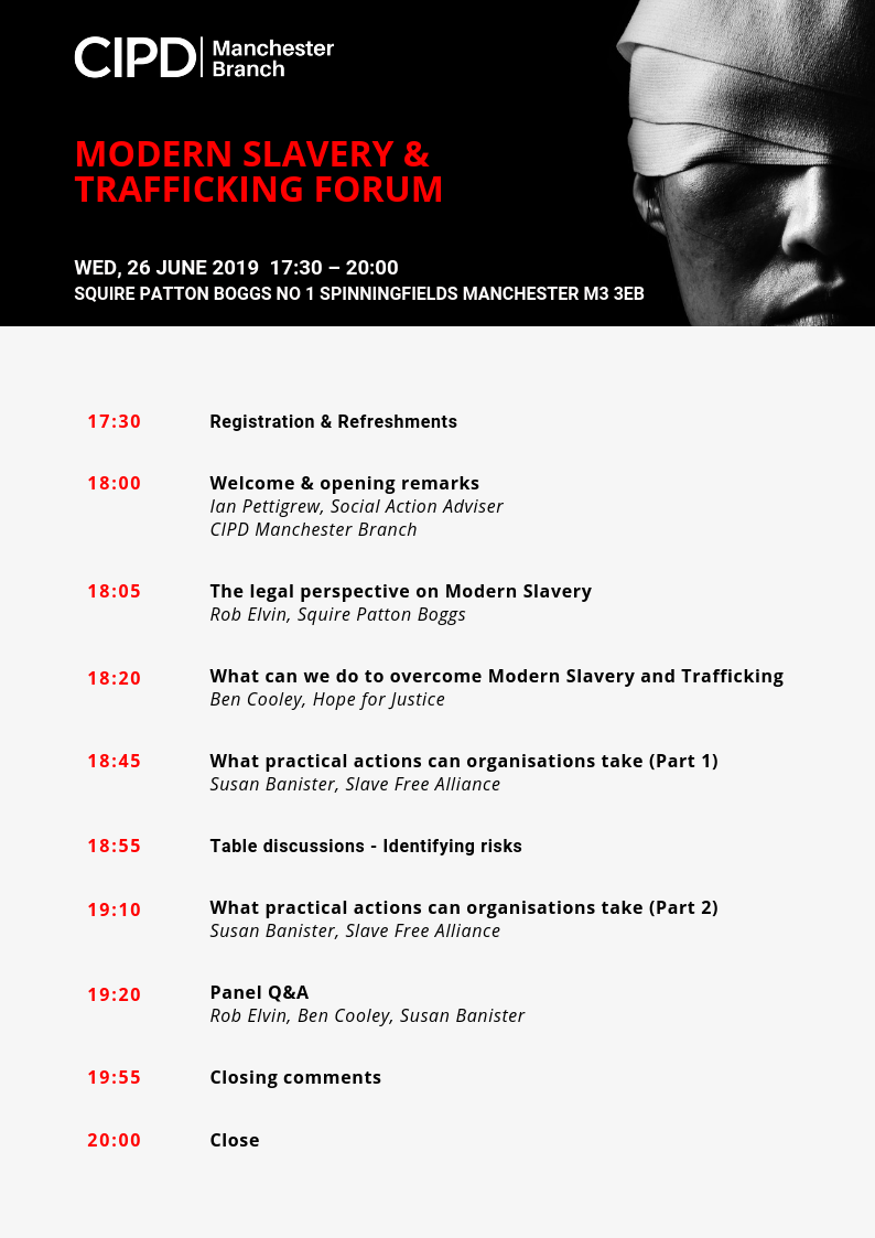 Modern Slavery & Trafficking Forum Agenda 26 June 2019 from 17:30 - 20:00 by CIPD Manchester